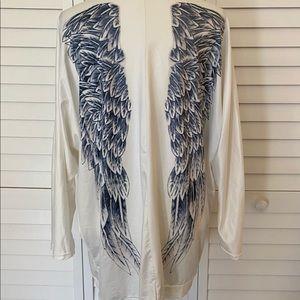 Angel Wings Print Back Loose Casual Cardigan